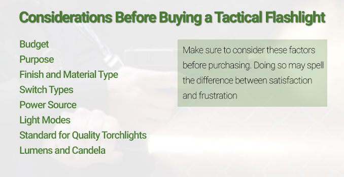 considerations before purchasing a tactical flashlight